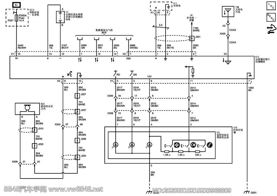 2012雪佛兰爱唯欧全车电路图8.1.2.2 OnStar 系统示意图